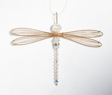Load image into Gallery viewer, Dragonfly Suncatcher Small Mobile with Iridescent Swarovski Crystals and Gold Wings