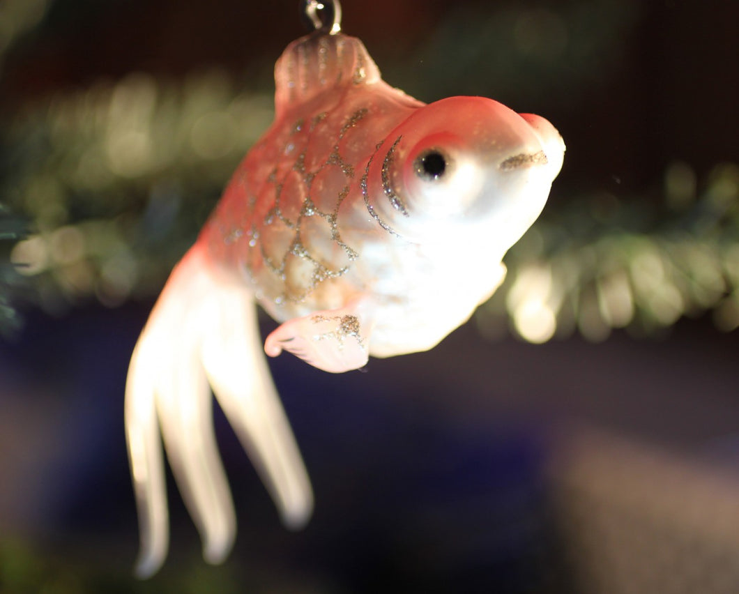 Fish Ornament Glittered, Hand-Painted