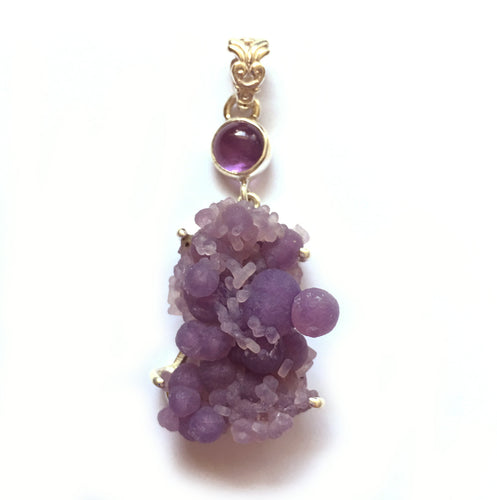 Grape Chalcedony aka Manakarra Botryoidai with Amethyst accent sterling silver pendant