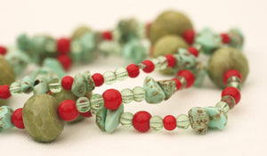 Green Calcite, Turquoise, Clear Quartz and Red Glass Beaded Necklace