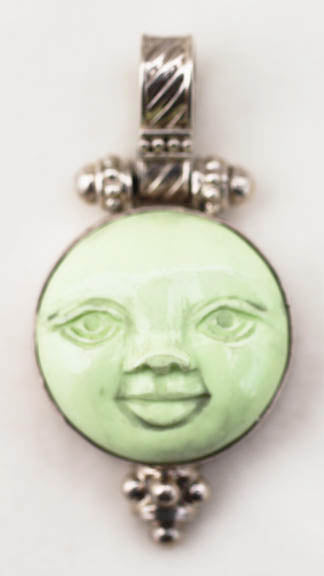 Moon Face Pendant in Sterling Silver Balinese