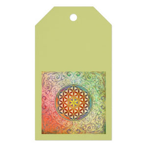 Gift Tag Green Flower of Life Ten-Pack