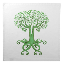 Load image into Gallery viewer, Tree of Life and Love Cotton Tarot Cloth in Green