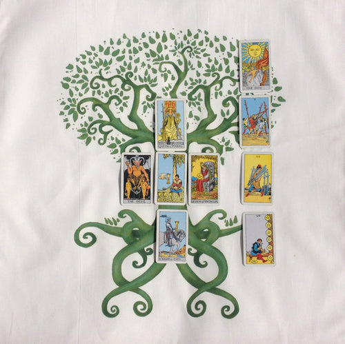 Tree of Life and Love Cotton Tarot Cloth in Green