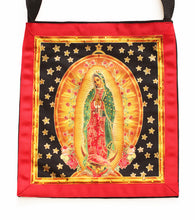 Load image into Gallery viewer, Our Lady The Virgin of Guadalupe with Stars Cotton Black Denim Tote - Hand-Embellished with Crystals