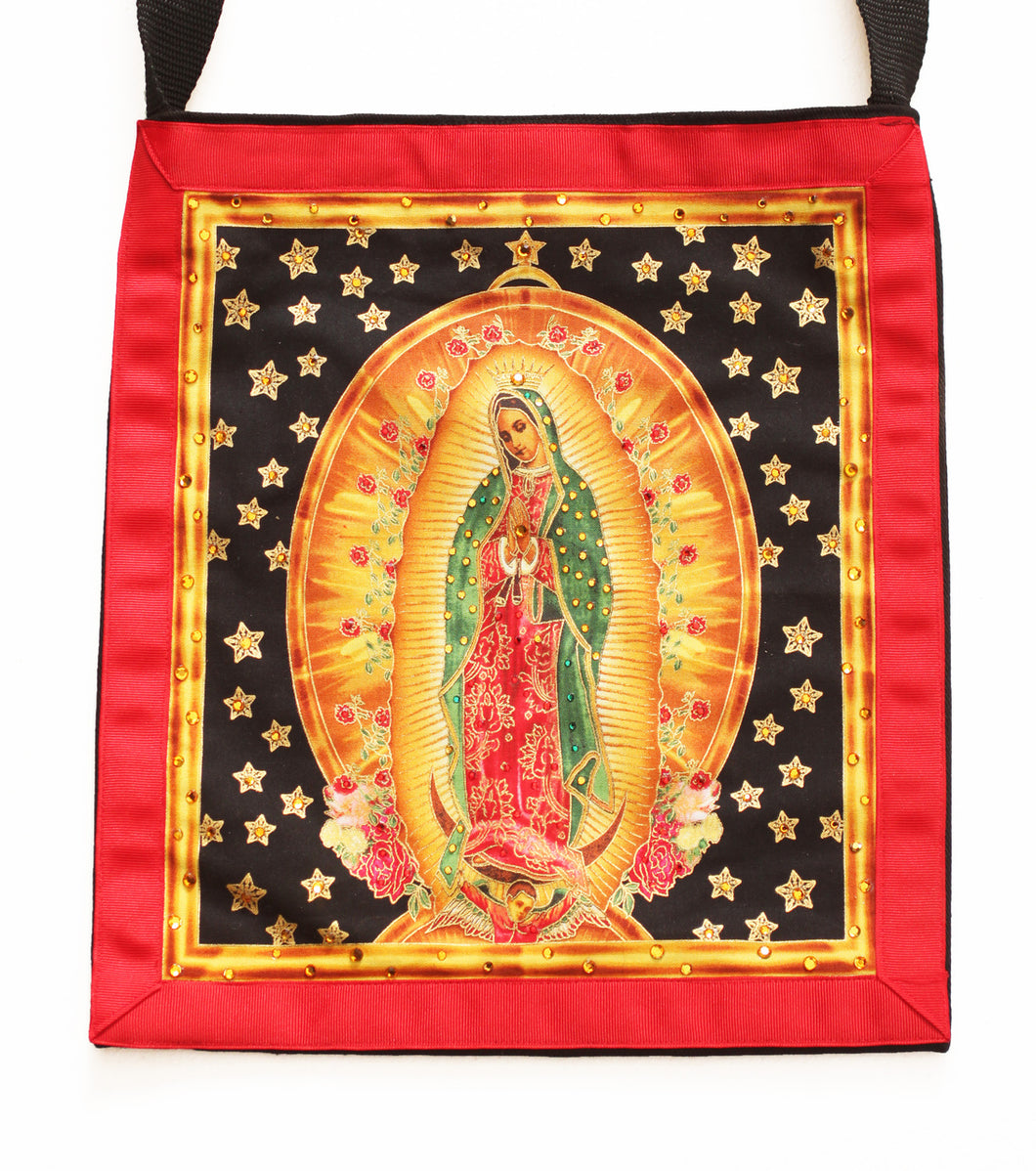 Our Lady The Virgin of Guadalupe with Stars Cotton Black Denim Tote - Hand-Embellished with Crystals
