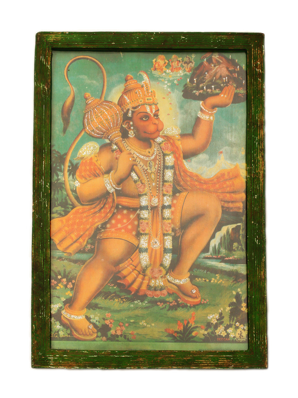 Hanuman the Hindu Monkey God that Defeats Evil Spirits, Fabulous Hand-Glittered Vivid Reproduction of a Painting