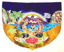 Load image into Gallery viewer, Hawaiian Lovers Balinese Rayon Batik Banner in shield shape