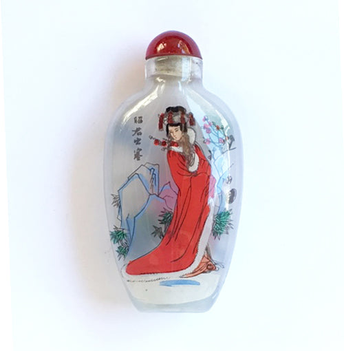 Heian Woman Glass Snuff Bottle Ornament