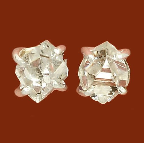 Herkimer Diamond Rock Crystal Stud Sterling Silver Earrings Double Terminated