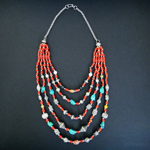 Himalayan Treasures Necklace of Tibetan Turquoise, Coral, Carnelian, Jade and Sterling Silver