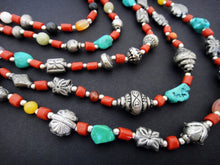 Load image into Gallery viewer, Himalayan Treasures Necklace of Tibetan Turquoise, Coral, Carnelian, Jade and Sterling Silver