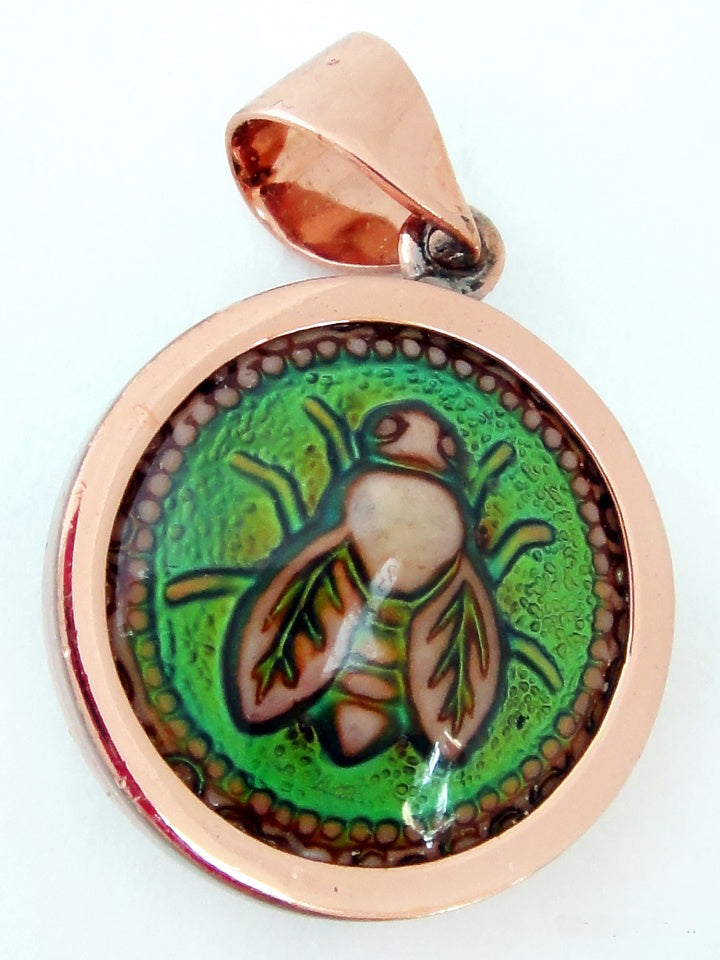 Honey Bee Mirage Copper Pendant Bead