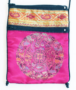 Rayon Tapestry and Velveteen Tarot Bag with Mandala in Hot Pink