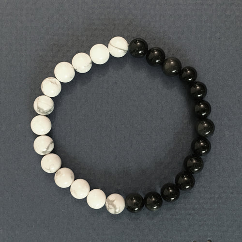 Obsidian and Howlite Bracelet 6.5mm Round Bead