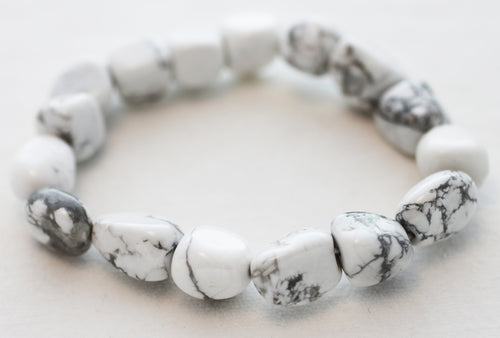 Howlite Tumbled Pebble Stretch Bracelet - High Vibe stone