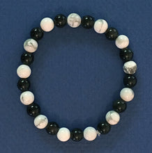 "Load image into Gallery viewer, Howlite and Obsidian 6.5mm Round Bead Bracelet - 6-1/2"" Size"