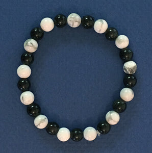 "Howlite and Obsidian 6.5mm Round Bead Bracelet - 6-1/2"" Size"