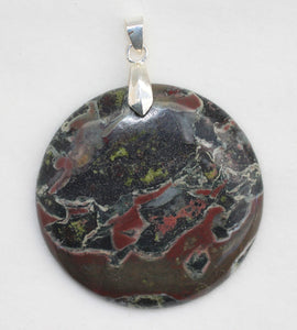 Camouflage Jasper Round Pendant for Great Spiritual Strength