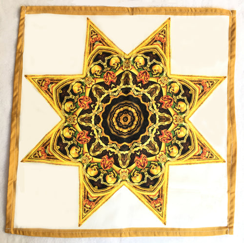Skull Star Mandala Cotton Tarot Cloth