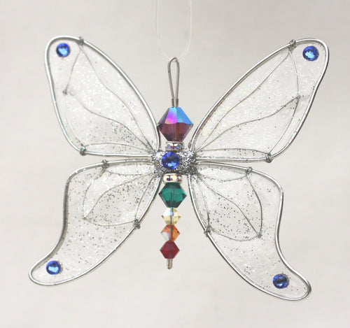 Butterfly Suncatcher Silver Small Mobile with Chakra-Themed Rainbow Swarovski Crystals