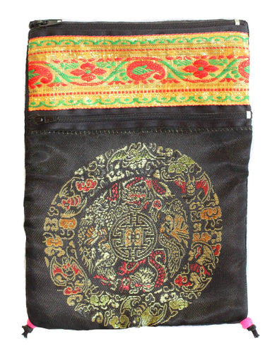 Black Rayon Tapestry and Velveteen Tarot Bag with Mandala