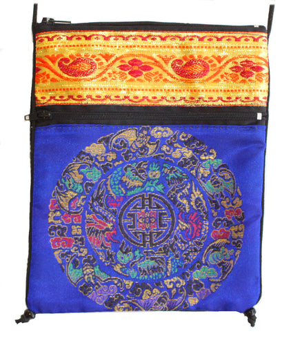 Royal Blue Rayon Tapestry and Velveteen Tarot Bag with Mandala