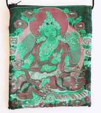 Load image into Gallery viewer, Green Tara Tarot Bag - Rayon and Cotton Bhutan Tapestry
