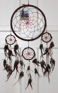 Dreamcatcher Brown Leather Covered Willow with Beads and Feathers