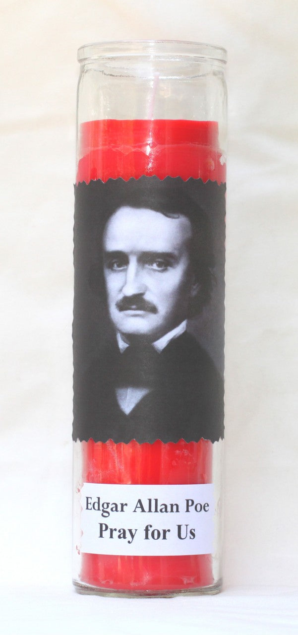 Edgar Allan Poe Candle in Red Coral or Yellow Lemon Color