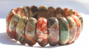 Spider Web Agate Picket Bead Bracelet for Growth, Fertility, and Prosperity