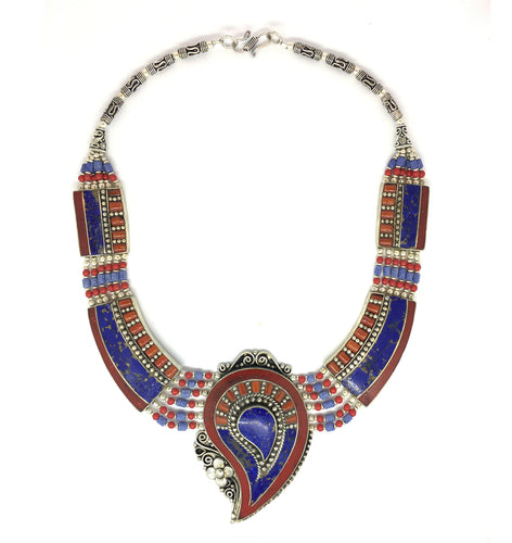 Nepalese Sterling Silver, Red Coral, Lapis Lazuli and Turquoise 17 inch Paisley Motif Medallion Necklace
