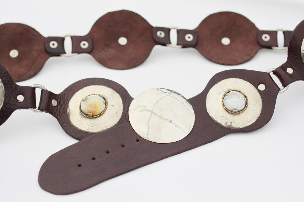 Moroccan Leather Belt in Brown with Brass and Horn Medallions