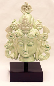 Tara Fine Porcelain Head in Celadon Green Tara or White Tara with wood stand