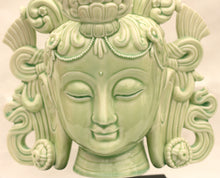 Load image into Gallery viewer, Tara Fine Porcelain Head in Celadon Green Tara or White Tara with wood stand