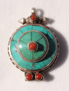 Turquoise Pendant Locket with Red Coral