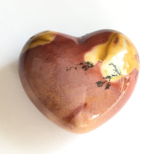 Mookaite Jasper Puffy Heart in mauve, sienna and caramel 45mm