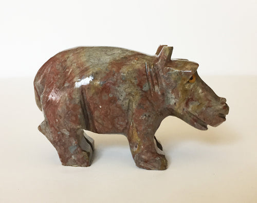 Hippo Figurine Soapstone Carving - Hold it to boost your endocrine system.