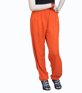 Tienda Ho Pumpkin Orange Cotton Rayon Moroccan Casual Pants in Sonya Design - One Size OS