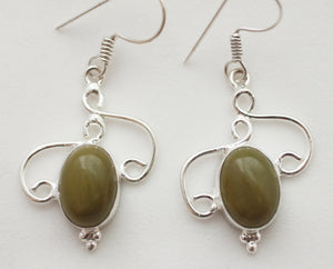 Imperial Jasper Earrings in Sterling Silver Scroll Settings