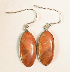 Peach Italian Coral Oval Shaped Cabochon Silver Dangle Earrings - Great for Aries!