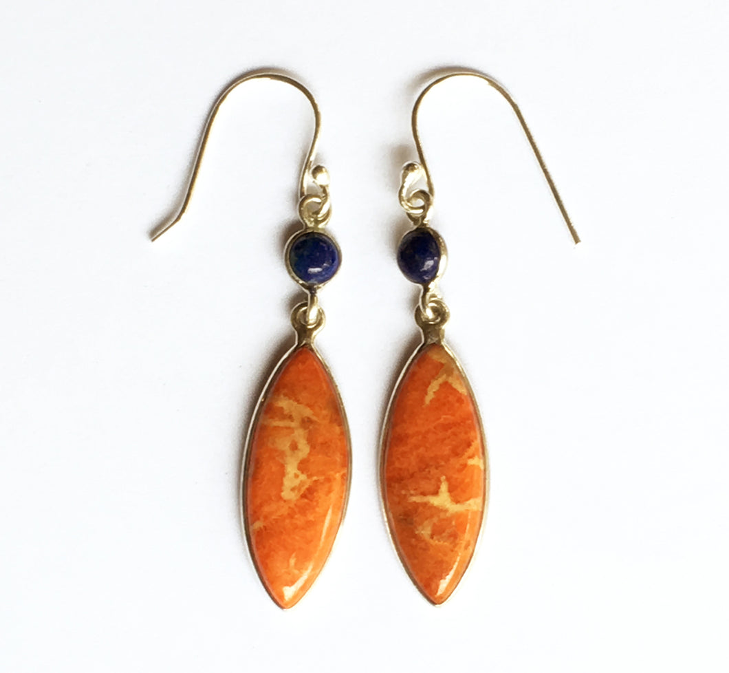 Peach Italian Coral Marquise Earrings with Lapis Accents  - Great for Aries!