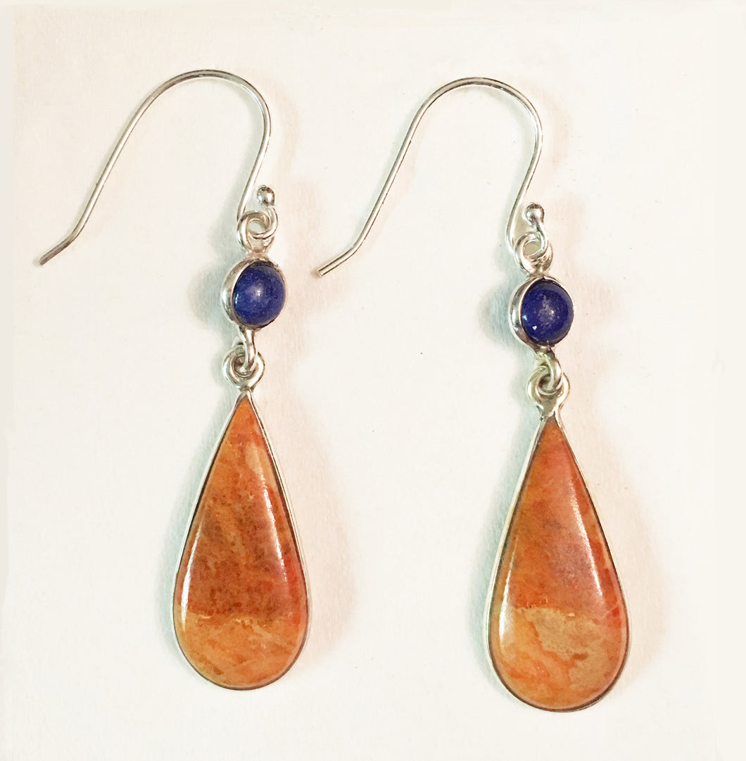 Peach Italian Coral Tear Drop Earrings with Round Lapis Accents  - Great for Aries!