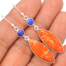 Load image into Gallery viewer, Peach Italian Coral Marquise Earrings with Lapis Accents  - Great for Aries!