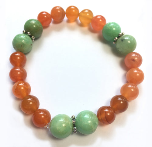 July Birthstone Carnelian and Amazonite Bracelet