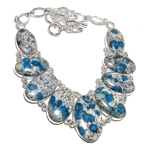 K2 Statement Collar Necklace Azurite in Granite