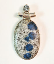 Load image into Gallery viewer, K2 Pendant Azurite in Granite pendant with Blue Topaz