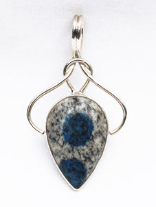 K2 - Azurite deposits in Granite - Petal Shaped Cabochon Pendant in Silver Celtic Knot Goddess Design Setting