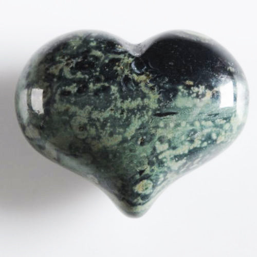 Kambaba Jasper Heart 1 inch Mini Puffy Bubble Heart aka Crocodile Jasper perfect for a pocket