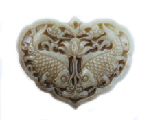 Load image into Gallery viewer, Carved Jade Old Focal Bead of Kissing Fish